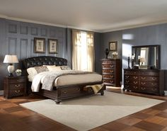 Homelegance 2166 Wrentham Bedroom Set with Storage Bed Bedroom Panel, Master Bedroom Furniture, Bedroom Furniture Sets, Furniture, Upholstered Panel Bed, Storage Bed, Global Furniture, Home Decor, Bedroom Furniture