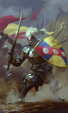 Regal knight warrior fights for his king's honor fantasy medieval Fantasy Warrior, Fantasy Rpg, Medieval Fantasy, Fantasy Artwork, Fantasy Inspiration, Character Inspiration, Fantasy Character Design, Character Art, Dungeons And Dragons