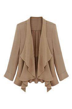 Asymmetric buttonless pleated jacket.
