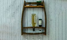 Solid wine shelf & glass holder Upcycled oak wood rack wall mounted Reclaimed barrel stave for 3 glasses Wine and spirits rack for 4 bottles Wall Mounted Spice Rack, Wine Shelves, Wooden Statues, Barrel Furniture, Wood Rack, Reclaimed Wood Wall Art, Gifts For Wine Lovers, Unique Wall Decor, Glass Holders
