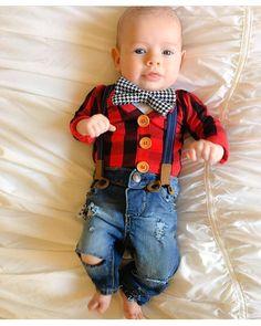 Cutest little newborn boy in a lumberjack buffalo plaid cardigan onesie with bowtie