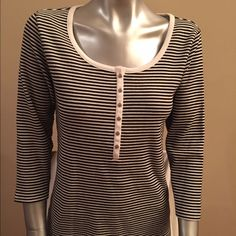 Chico's Black & White Stripe 3/4 Sleeve Knit Top 1 Chico's black and white stripe 3/4 length sleeve knit top with button neckline, size 1, in excellent condition Chico's Tops Tees - Long Sleeve