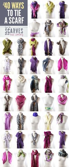 Spring scarves are always in style.  Here are 40 ways to tie yours!