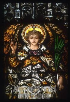 Pre Raphaelite stained glass windowshowing Angel Gabriel by Dante Gabriel Rossetti at St Dunstans Church , Cranbrook , Kent , England . Pre Raphaelite window . stock photo