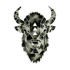 Buffalo Print . Watercolor Bison Buffalo from GeometricInk on
