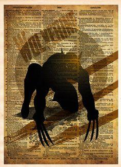 Wolverine print, Xmen art pop art, vintage superhero art, Retro Super Hero Art, Dictionary print art