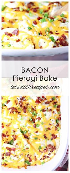 Bacon Pierogi Bake: Pierogi baked in a creamy sauce, then topped with cheese, bacon and green onions. Pierogi Casserole, Pierogi Recipe, Casserole Recipes, Casserole Dishes, Pasta Dishes, Food Dishes, Main Dishes, Side Dishes, Food Food