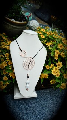 Copper Necklace Lariat Necklace With black Greek Leather by Wired2, $35.00
