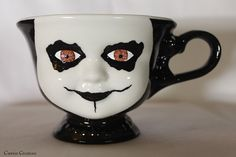 Creepy Brown Eyed Corpse Paint Doll Face Ceramic by CarrionComfort