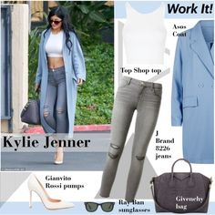 CelebrityStyle: Kylie Jenner by vanjazivadinovic on Polyvore featuring Topshop, Ray-Ban, J Brand, Gianvito Rossi, Givenchy, KylieJenner, CelebrityStyle and polyvoreeditorial