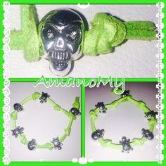 #Bracciale#bracelet#bijoux#hewels#fattoamano#handmade#verde#alcantara#green#teschio#skull#tartaruga#charms#