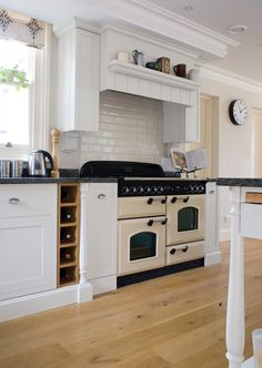 "-- that stove.what the French call ""piano de cuisson"", please let me play on one! Range Cooker Kitchen, Aga Kitchen, Timber Kitchen, Kitchen Tiles, Country Kitchen, Black And Cream Kitchen, Rangemaster Cookers, White Cupboards, Küchen Design"
