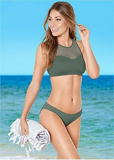cf37a675dd487 mesh high neck bikini top Strappy Bikini Top