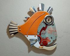 Fish Wall Art, Fish Art, Fish Sculpture, Wall Sculptures, Steampunk Theme, Fisherman Gifts, Angler Fish, Stop Motion, Beach House Decor