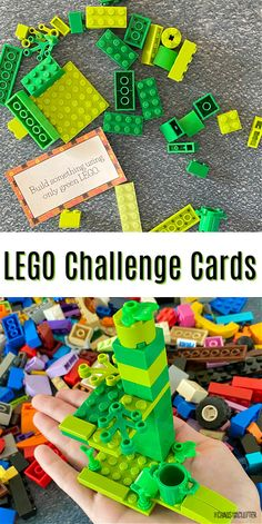 Using these LEGO Challenge Cards, kids can improve their learning while they play. Great STEM activity for students. #homeschooling #STEM #learningthroughplay Summer Camp Activities, Lego Activities, Kids Learning Activities, Lego For Kids, Stem For Kids, Stem Projects For Kids, Lego Challenge, Challenge Cards, Lego Therapy