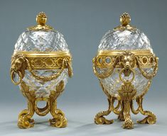 "1775 French Potpourri bowls at the J. Paul Getty Museum, Los Angeles - From the curators' comments: ""Glass mounted with gilt bronze is rare, fashionable in Paris during the and Vases, Urn Vase, Decoration, Art Decor, Pot Pourri, Swarovski, Crystal Glassware, Getty Museum, Dream Furniture"