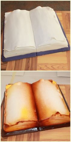 Book cake ,before and after airbrush. Really love my new airbrush