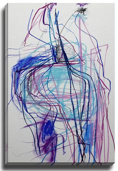Bendy in Blue by Jenny Andrews Anderson Painting Print on Gallery Wrapped Canvas