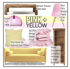 """""""Color Challenge: Pink and Yellow"""" by martso ❤ liked on Polyvore featuring interior, interiors, interior design, home, home decor, interior decorating, Joybird Furniture, Flamant, Kartell and Villa Home Collection"""