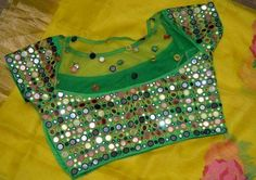 Looking for latest mirror work blouse designs to try with your silk sarees? Here are adorable models for you to get inspired and wear it with pattu! Mirror Work Saree Blouse, Mirror Work Blouse Design, Chudidhar Neck Designs, Blouse Back Neck Designs, Saris, Pattu Saree Blouse Designs, Lehenga Blouse, Kurta Designs, Party Sarees