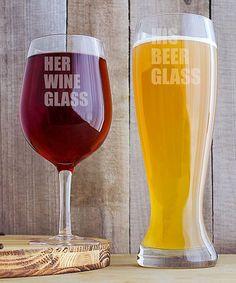 'His Beer' & 'Her Wine' XL Beer & Wine Glass Set