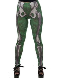 "Women's ""Skele-Bone"" Leggings by Kreepsville 666 (Slime Green) #InkedShop #skeleton #bones #slime #style #fashion #womens"