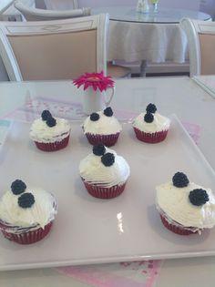 Little Red Velvet with hand picked Blackberries