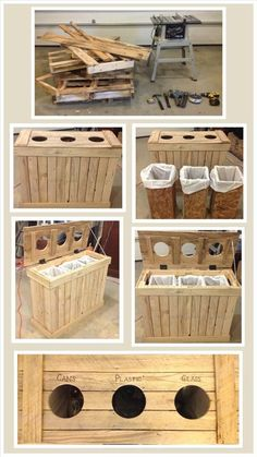 20 Pallet Projects You Ought To Try This Summer. The container shown is a great idea for garbage, recycling and composting. 20 Pallet Projects You Ought To Try This Summer. The container shown is a great idea for garbage, recycling and composting. Old Pallets, Recycled Pallets, Wooden Pallets, Pallet Benches, Outdoor Pallet, Pallet Wood, Garden Pallet, Pallet Couch, Pallet Patio