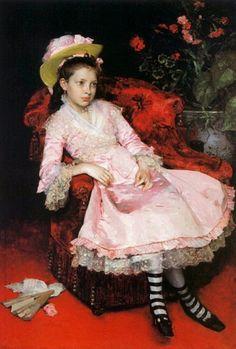 "Raimundo de Madrazo y Garreta, ""Portrait of a Young Girl in a Pink Dress"""