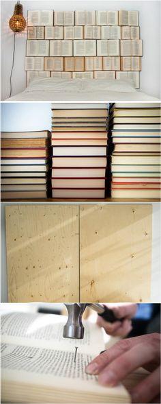 Fancy Book Headboard - 78 Superb DIY Headboard Ideas for Your Beautiful Room