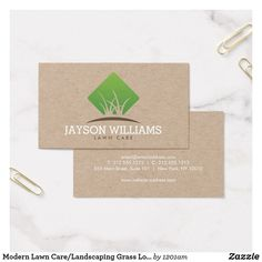 Modern Lawn Care/Landscaping Grass Logo Kraft Business Card | Zazzle.com | 1000 - Modern | 1000 Landscaping Tools, Landscaping Near Me, Lawn Care Business Cards, Business Card Logo, Watercolor Landscape Paintings, Lawn And Garden, Name Cards, Landscape Design, Grass