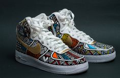 One of a kind, hand painted in Brooklyn Nike Air force ones in White by Laolu (Each pair is unique unto itself). You choose low, mid or high tops. Custom Painted Shoes, Custom Shoes, Sneaker Diy, Tenis Nike Casual, Adidas, Sneakers Fashion, Fashion Shoes, Style Africain, Painted Sneakers