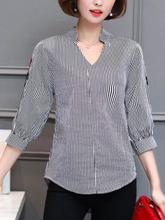 Sewing Blusas V-Neck Embroidery Vertical Striped Blouse Cheap Blouses, Shirt Blouses, Blouses For Women, Blouse Styles, Blouse Designs, Chemise Fashion, Dress Fashion, Sewing Blouses, Long Sleeve Short Dress