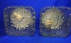 Pair Vintage Beautiful 70´s Glass Square Wall Lamp Mirror Sconces #