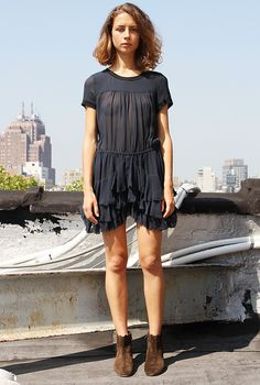 layered tee dress... Add a bra and this would be awesome