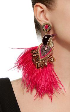 Flamengo Feathered Gold-Tone Drop Earrings by Ranjana Khan Jewelry Design Earrings, Tassel Jewelry, Dainty Earrings, Cuff Earrings, Fabric Jewelry, Fringe Earrings, Circle Earrings, Feather Earrings, Beautiful Earrings