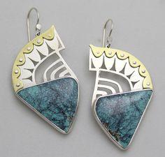 Warrior Earrings for Sarah. Turquoise, sterling, brass.