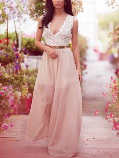 V Neck Lace Spliced Maxi Dress