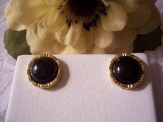 Black Onyx Button Pierced Earrings Gold Tone Vintage Liz Claiborne Round Lined Edges. $15.00, via Etsy.