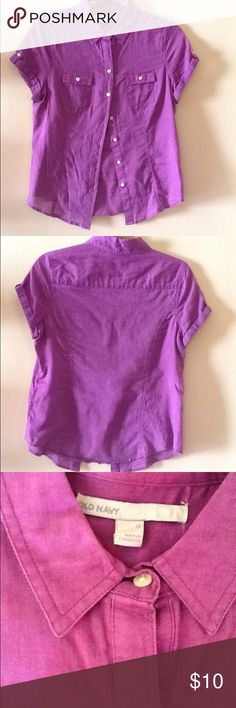 Old Navy button down Fuchsia Linen Blouse Old Navy Button Up Linen Blouse Size M in fairly good condition Old Navy Tops Button Down Shirts