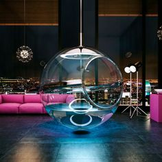 "This floating glass bubble, which brings a whole new meaning to ""bubble bath"":"