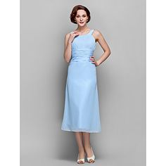 Lanting+Bride®+Sheath+/+Column+Plus+Size+/+Petite+Mother+of+the+Bride+Dress+Tea-length+Sleeveless+Chiffon+with+Draping+/+Ruching+–+USD+$+89.99