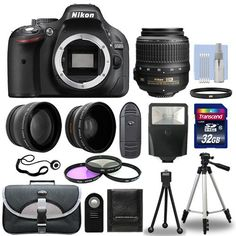 Nikon D5200 Digital SLR Camera + 3 Lens Kit  18-55mm VR  Lens +32GB Bundle #Nikon