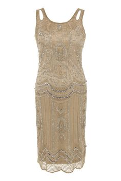 GOLD NUDE VINTAGE CHARLESTON FLAPPER uk 8 10 12 14 16 GATSBY dress 20's ART DECO #frockandfrill #20s #Cocktail