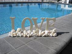 Seashell Art Decor FreeStanding Love Sign by SharingSeaShells, $38.00