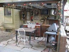 Rustic oudoor kitchen man cave   Home Ideas