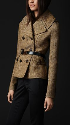Burberry Prorsum Oversize Collar Wool Jacket--love the collar & tweed color, lose the belt