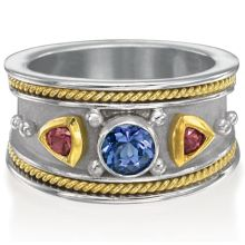 Etruscan Ring with Gemstones