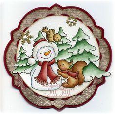 Marianne Design CreaTables Anja's Circle Stanze (LR0327), Craftables Basic Round Sets (CR1331), Craftables Snowflakes (CR1335), Eline's Christmas Snowman Stempel (EC0135), Eline's Winter Forest Stempel (EC0116), Marianne Design Enamel Sticker Black & White (PL4503)
