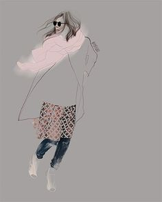 """New street fashion illustration @majawyh ♡ her style!"" -- Agata Wierzbicka"